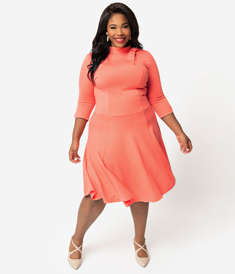 Unique Vintage + Pantone Plus Size Living Coral Knit Parker Flare Dress