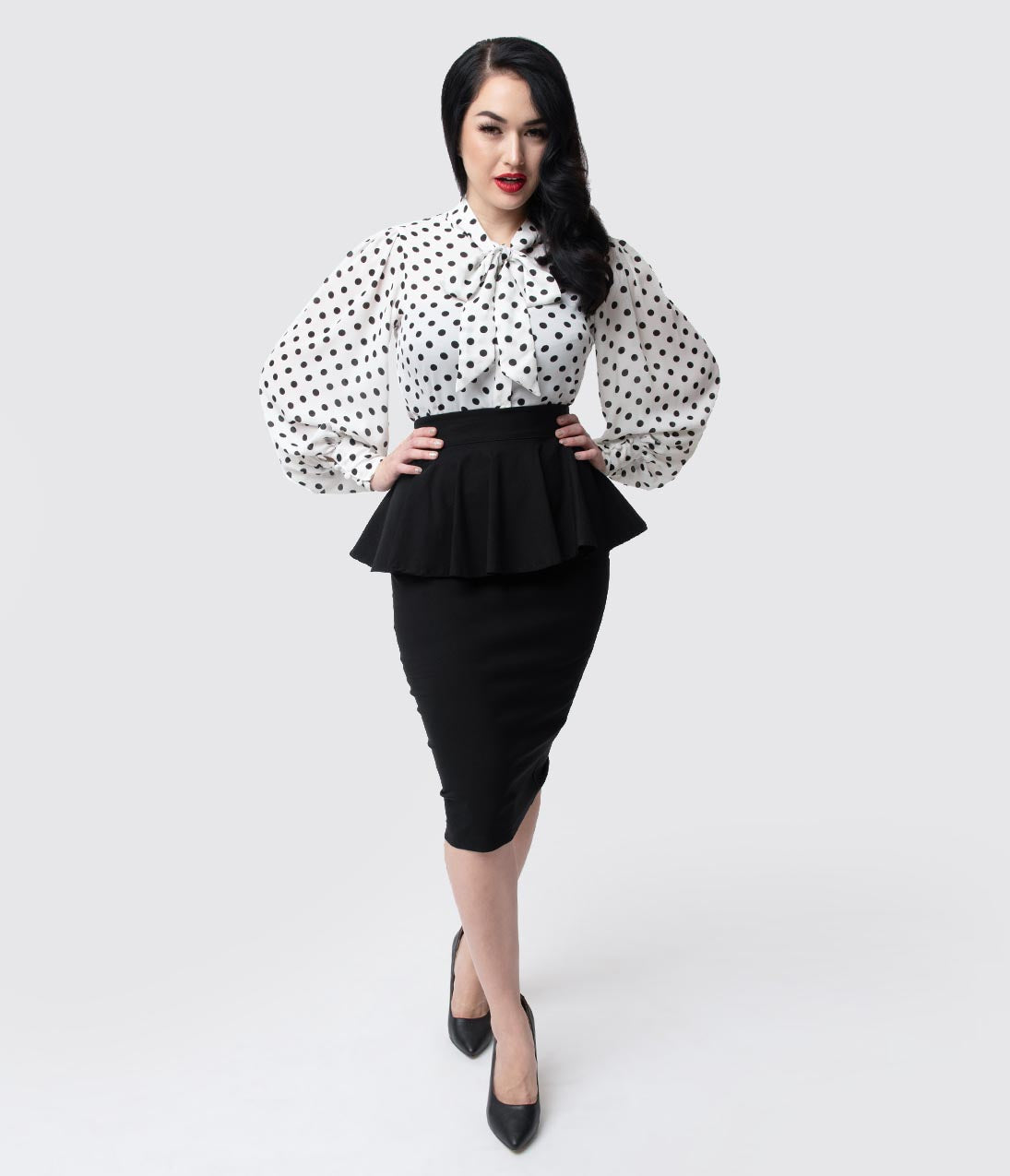 Retro Skirts: Vintage, Pencil, Circle, & Plus Sizes Unique Vintage 1940S Black Stretch Peplum Boulevard Pencil Skirt $58.00 AT vintagedancer.com
