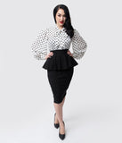 Unique Vintage 1940s Black Stretch Peplum Boulevard Pencil Skirt