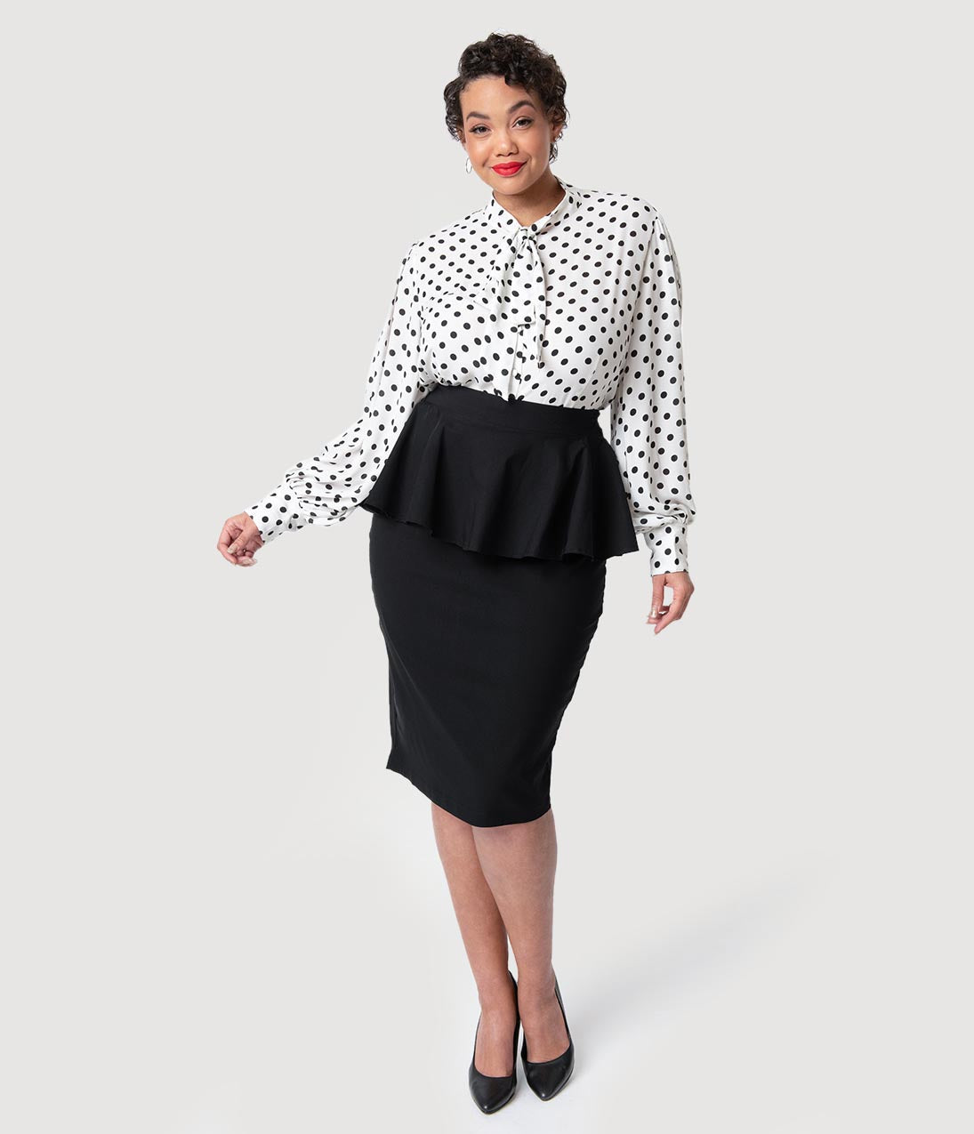 Retro Skirts: Vintage, Pencil, Circle, & Plus Sizes Unique Vintage Plus Size 1940S Black Stretch Peplum Boulevard Pencil Skirt $58.00 AT vintagedancer.com