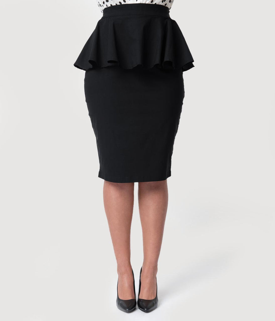 Unique Vintage Plus Size 1940s Black Stretch Peplum Boulevard Pencil Skirt