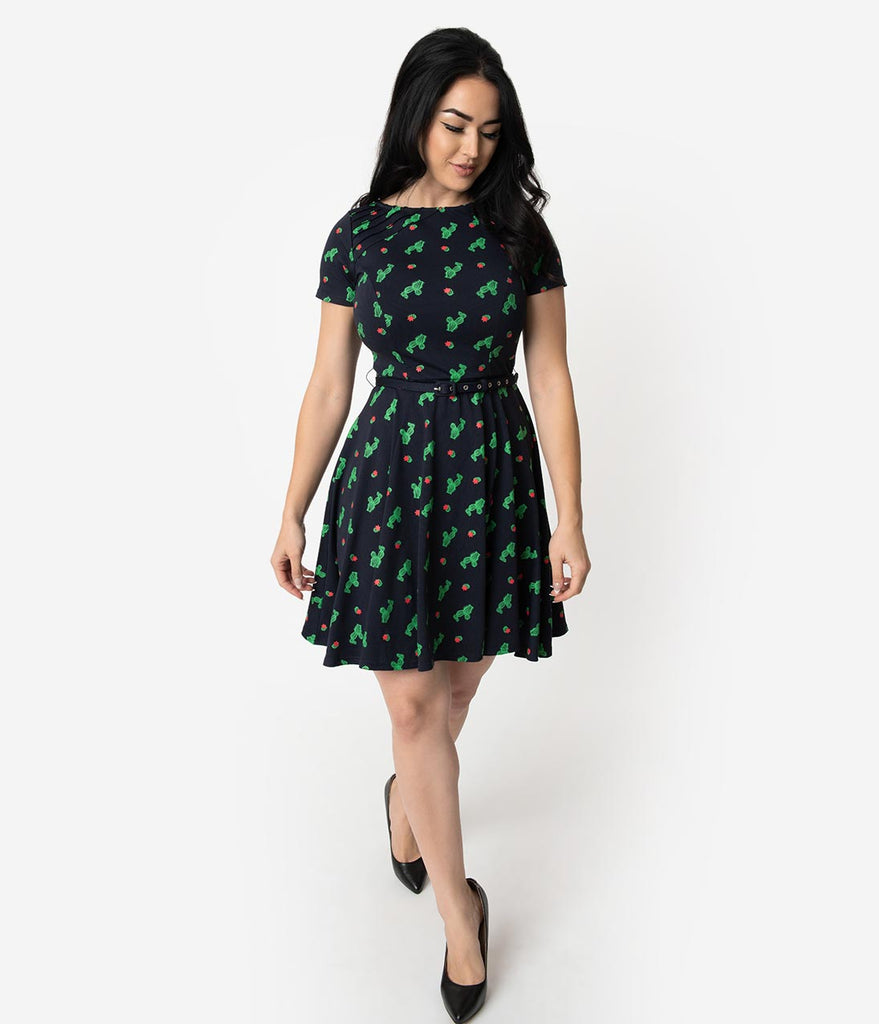 Unique Vintage Navy Knit Cactus Cutie Print Short Sleeve Fit & Flare Dress