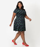 Unique Vintage Plus Size Navy Knit Cactus Cutie Print Short Sleeve Fit & Flare Dress