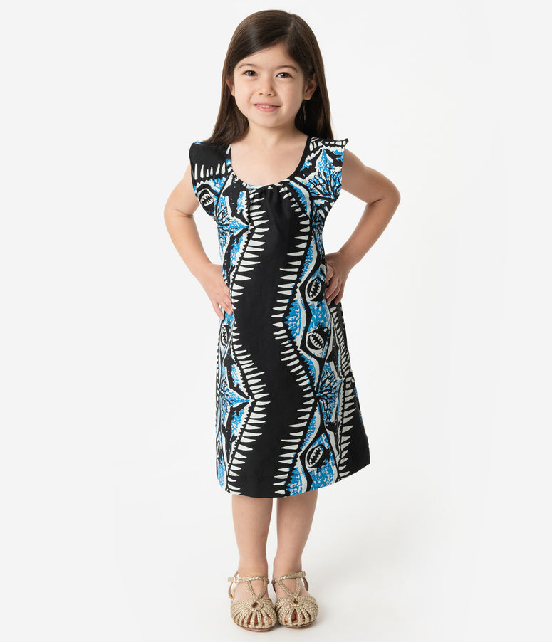 Alfred Shaheen Black & Blue Shark Print Hawaiian Childrens Dress