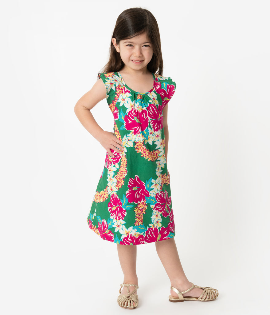 Alfred Shaheen Green & Pink Mala Pua Hibiscus Lei Print Hawaiian Childrens Dress