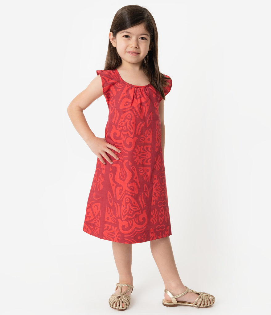 Alfred Shaheen Red Tiki Pareau Print Hawaiian Childrens Dress