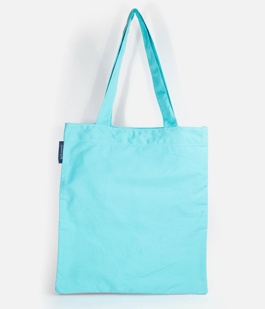 Retro Style Light Blue & Pink Flamingo Print Cotton Canvas Tote