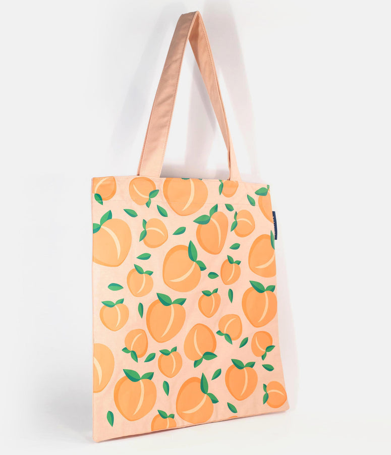 Retro Style Peach Print Cotton Canvas Tote