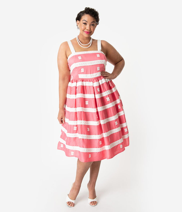 Barbie x Unique Vintage Plus Size Rose Coral & White Busy Morning Sundress