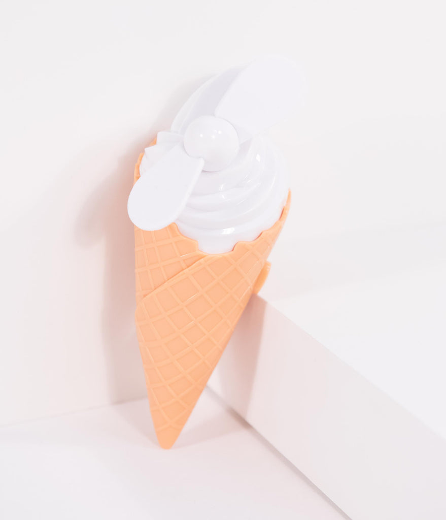 White Soft Serve Cone Shaped Hand Held Beach Fan
