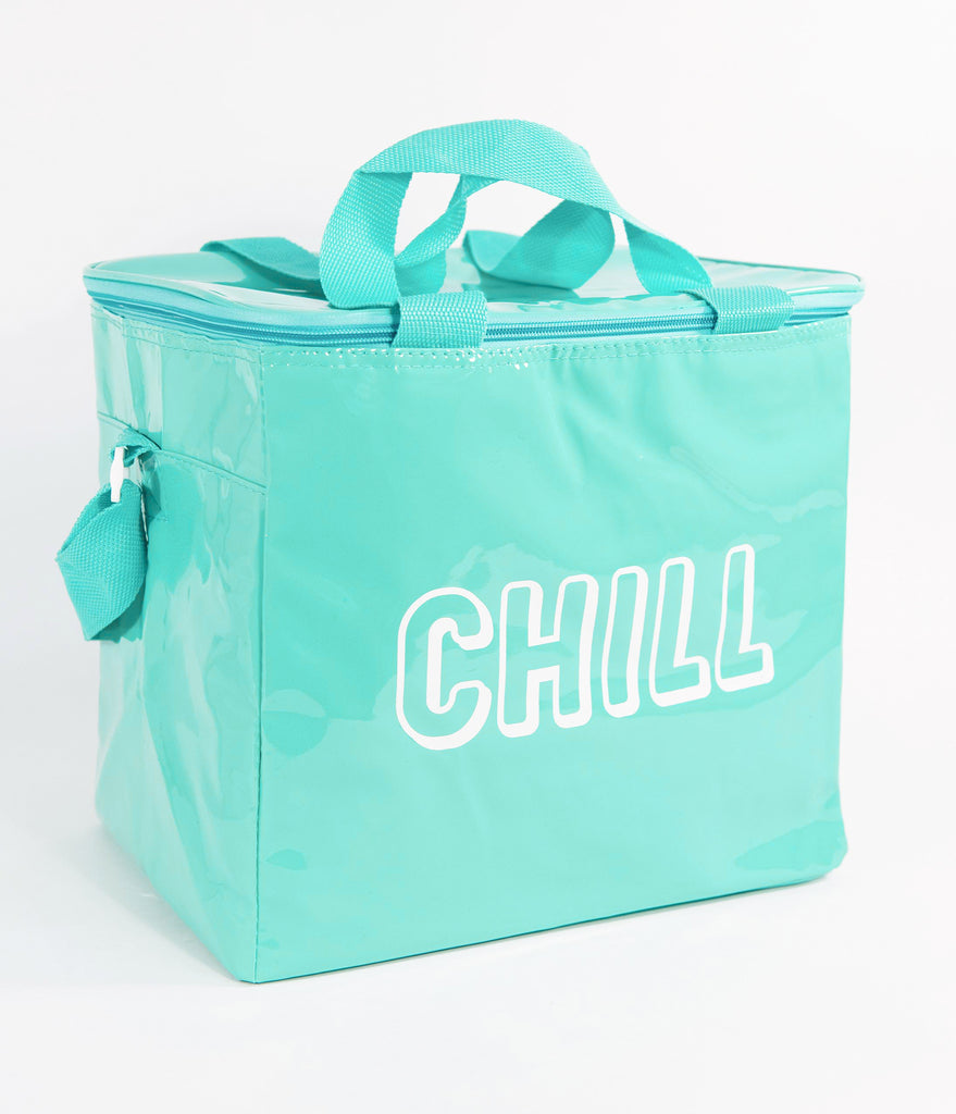 Turquoise Mint Vinyl Chill Beach Cooler Bag