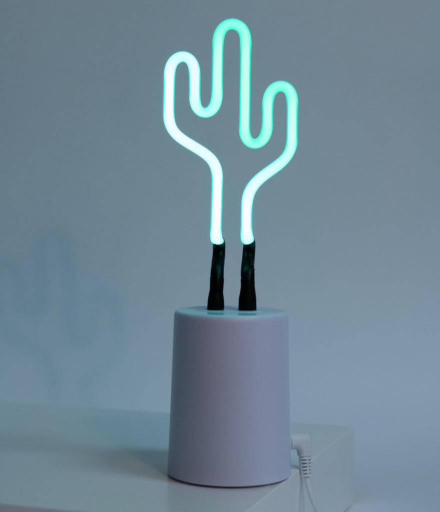 Green Cactus Neon Table Light
