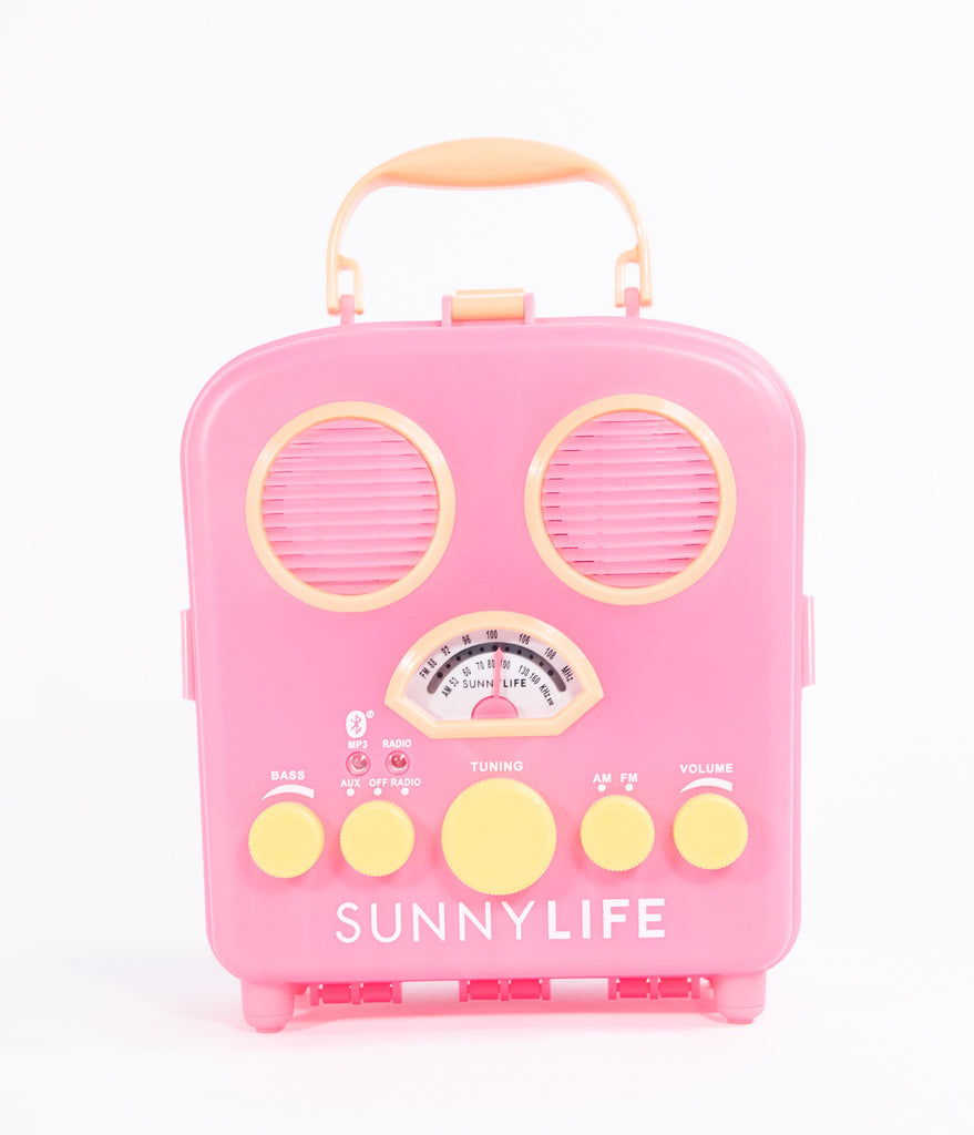 Retro Style Neon Pink Malibu Beach Sounds Bluetooth Speaker