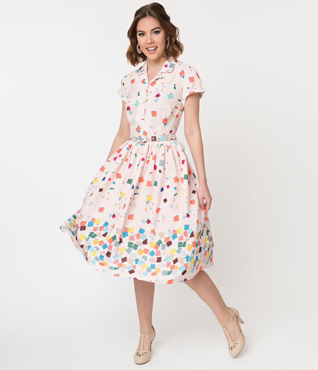 1950s Swing Dresses | 50s Swing Dress Unique Vintage  Pantone 1950S Style Color Chips Print Alexis Shirtdress $118.00 AT vintagedancer.com