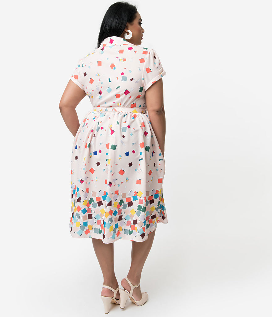 Unique Vintage + Pantone Plus Size 1950s Style Color Chips Print Alexis Shirtdress