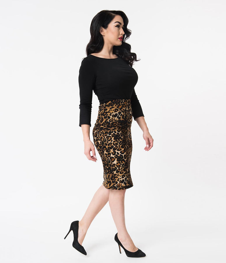 Vintage Style Leopard Print Stretch High Waist Pencil Skirt