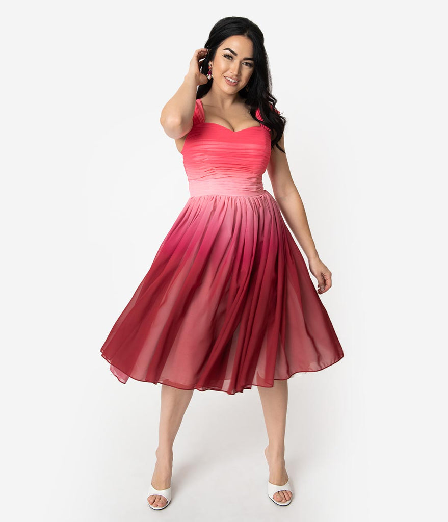 Unique Vintage Pink Ombre Garden State Chiffon Cocktail Dress