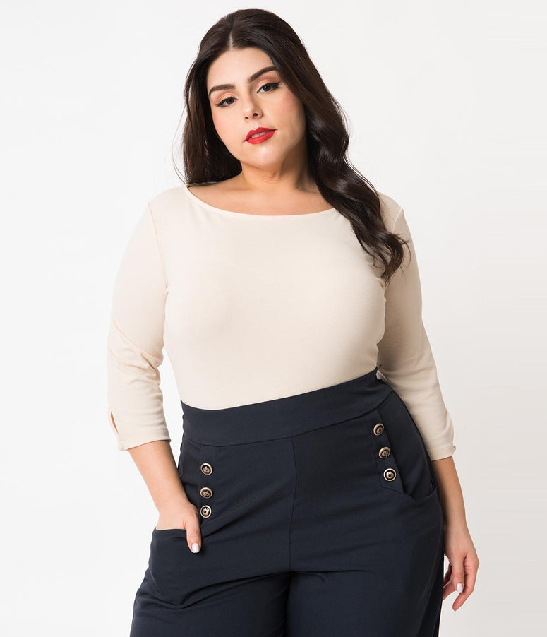 Unique Vintage Plus Size Cream Knit Three-Quarter Sleeve Gracie Top