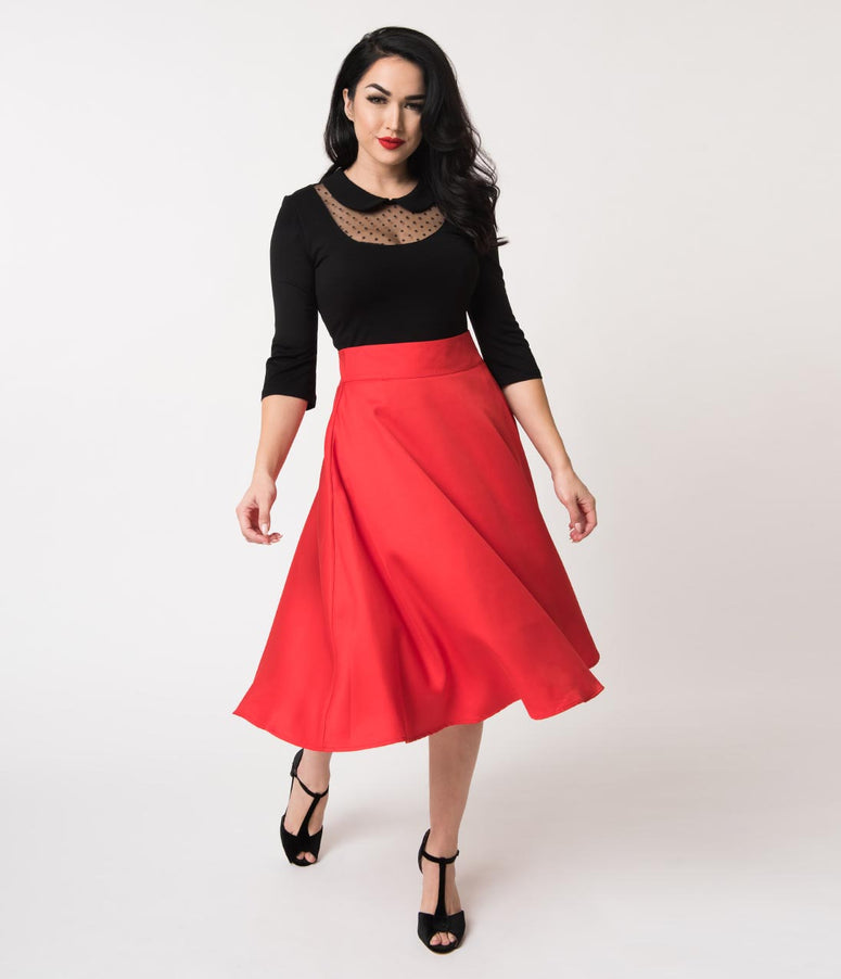 Unique Vintage Retro Style Red High Waist Vivien Swing Skirt