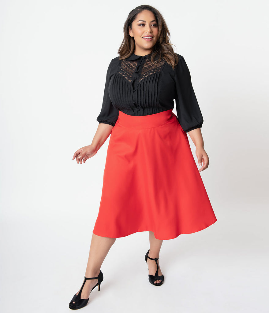 Unique Vintage Plus Size Retro Style Red High Waist Vivien Swing Skirt