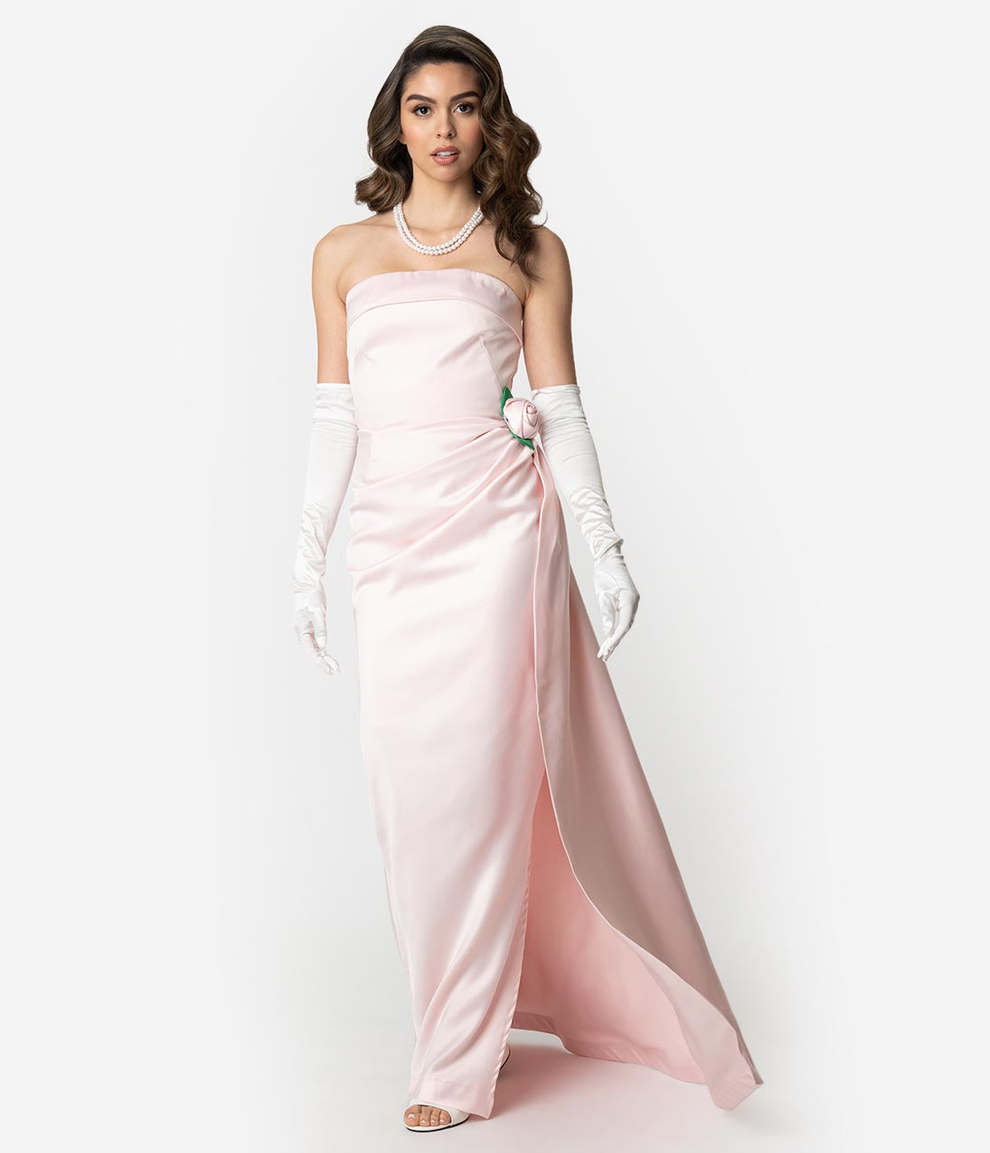 2930bed5b160d Barbie x Unique Vintage Pink Satin Strapless Enchanted Evening Gown