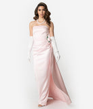 Barbie x Unique Vintage Pink Satin Strapless Enchanted Evening Gown