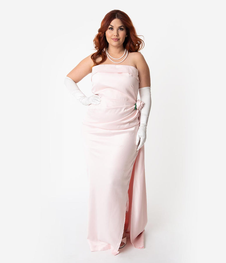 dbbabc1f1b5 Barbie x Unique Vintage Plus Size Pink Satin Strapless Enchanted Evening  Gown