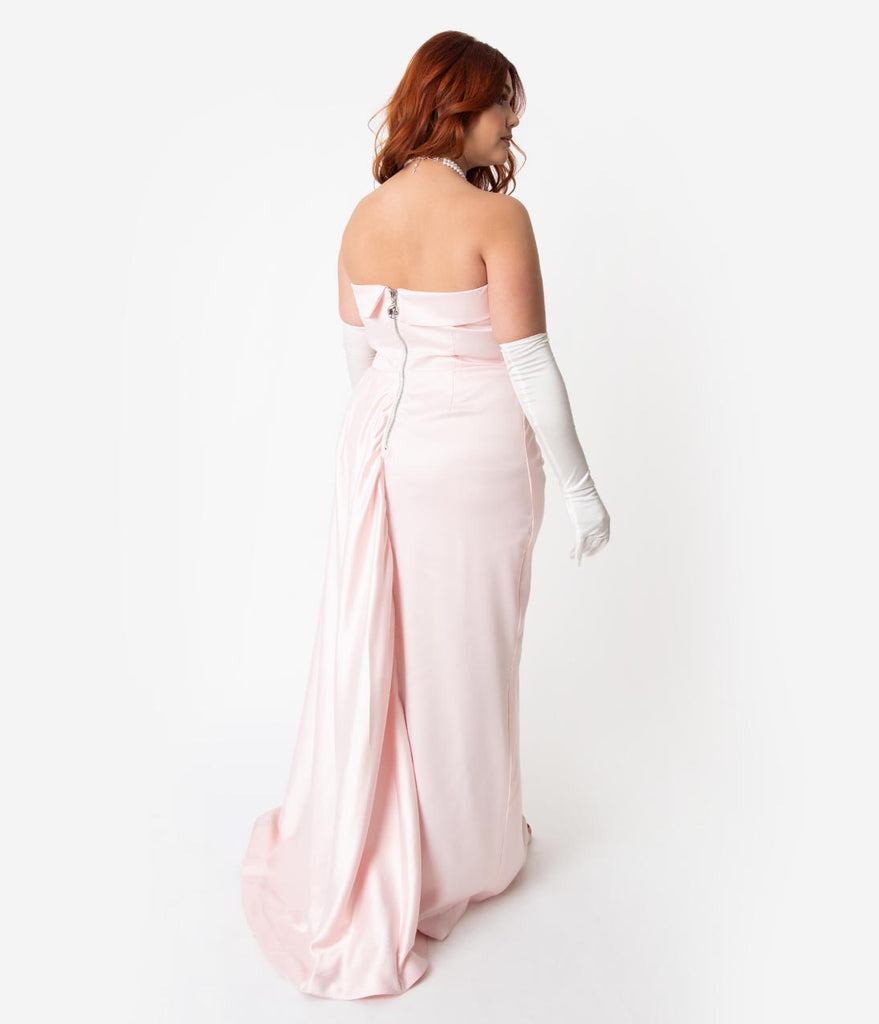 Barbie x Unique Vintage Plus Size Pink Satin Strapless Enchanted Evening Gown