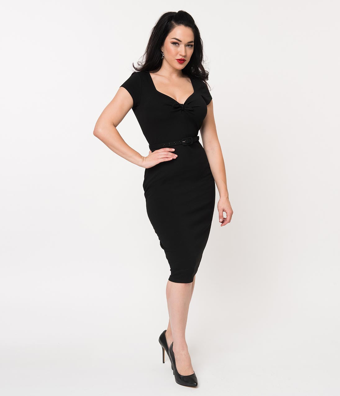 1950s Pencil Dresses & Wiggle Dress Styles Unique Vintage 1950S Black Sweetheart Stretch Knit Dianne Wiggle Dress $58.00 AT vintagedancer.com