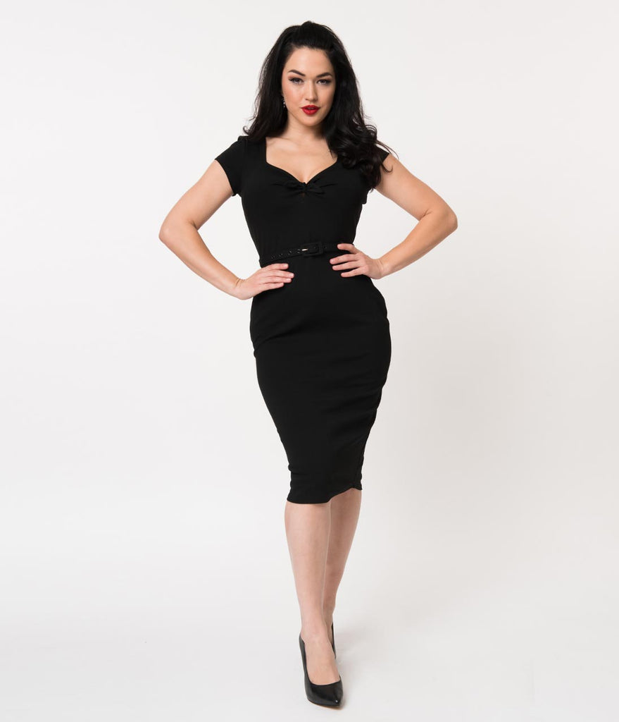 Unique Vintage 1950s Black Sweetheart Stretch Knit Dianne Wiggle Dress