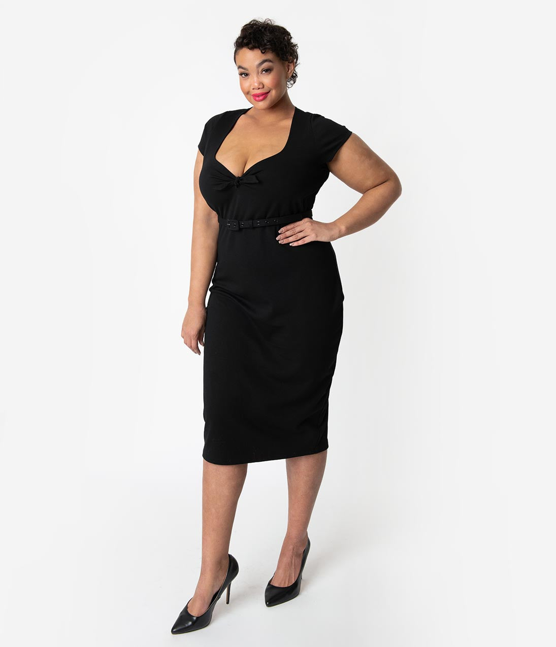 1950s Plus Size Dresses, Swing Dresses Unique Vintage Plus Size 1950S Black Sweetheart Stretch Knit Dianne Wiggle Dress $58.00 AT vintagedancer.com