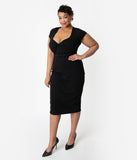 Unique Vintage Plus Size 1950s Black Sweetheart Stretch Knit Dianne Wiggle Dress