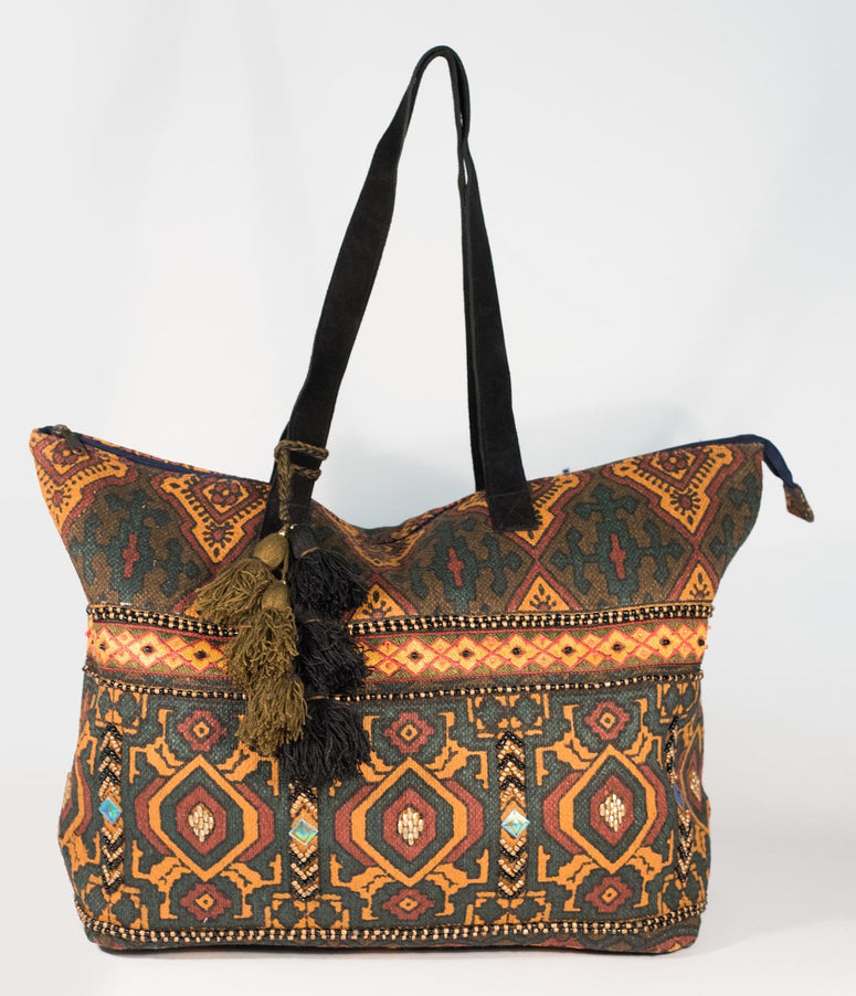 Multicolor Woven Cotton & Beaded Tapestry Carpet Bag