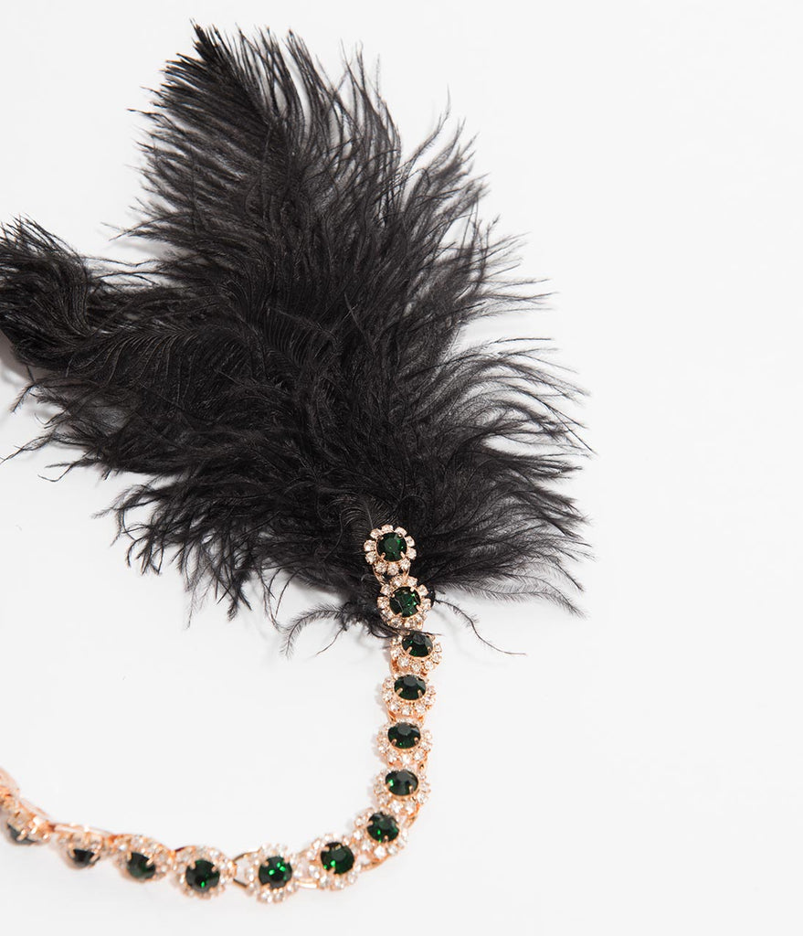 Black Feather & Emerald Crystal Goldie Flapper Headband