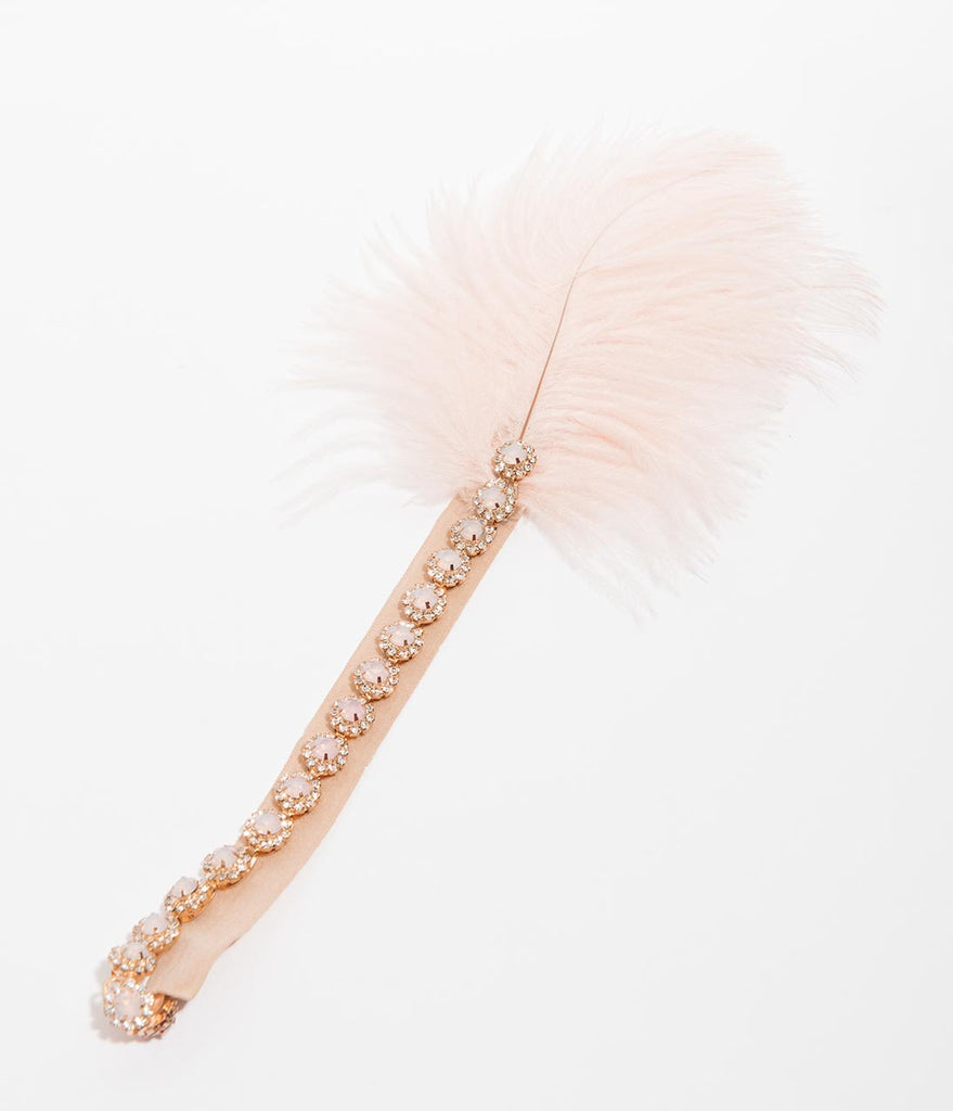 Blush Feather & Crystal Goldie Flapper Headband