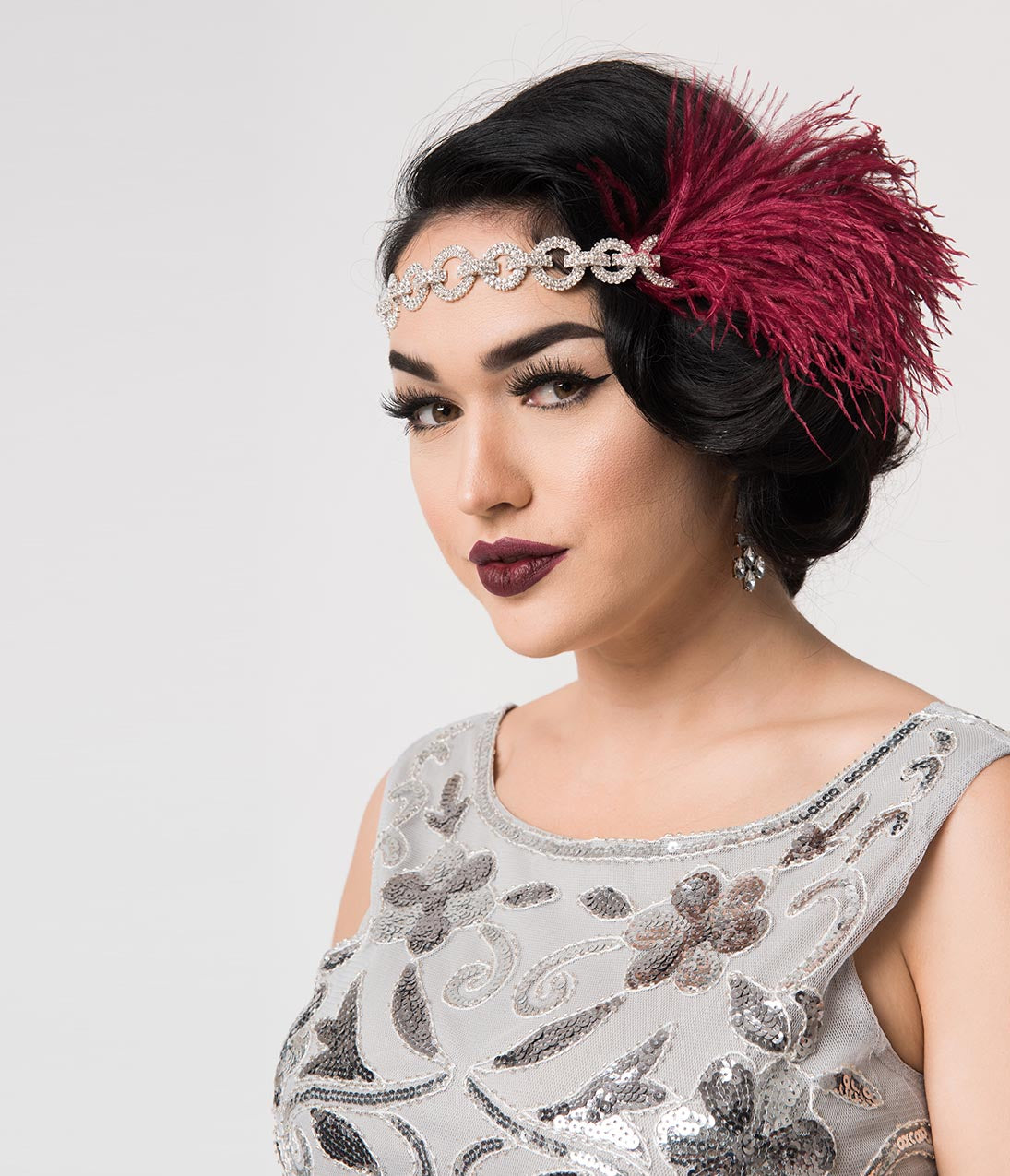 1930s Outfit Ideas for Women Burgundy Feather  Silver Linked Rhinestones Channel Flapper Headband $48.00 AT vintagedancer.com