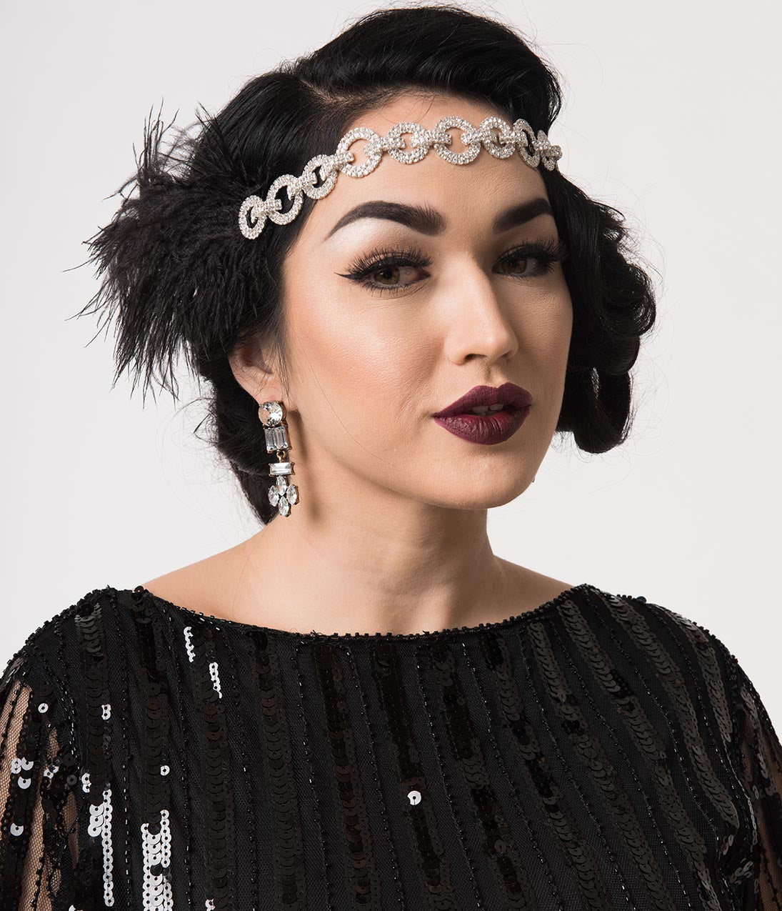 1920s Accessories | Great Gatsby Accessories Guide Black Feather  Silver Linked Rhinestones Channel Flapper Headband $48.00 AT vintagedancer.com