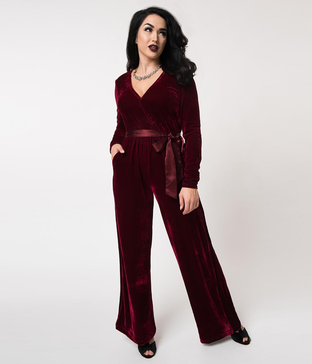 Vintage High Waisted Trousers, Sailor Pants, Jeans 1970S Burgundy Red Velvet Satin Tie Long Sleeve Jumpsuit $51.00 AT vintagedancer.com