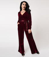 Sexy V-neck Keyhole Banding Button Closure Gathered Fitted Pocketed Elasticized Waistline Long Sleeves Cocktail Party Dress/Jumpsuit With a Sash