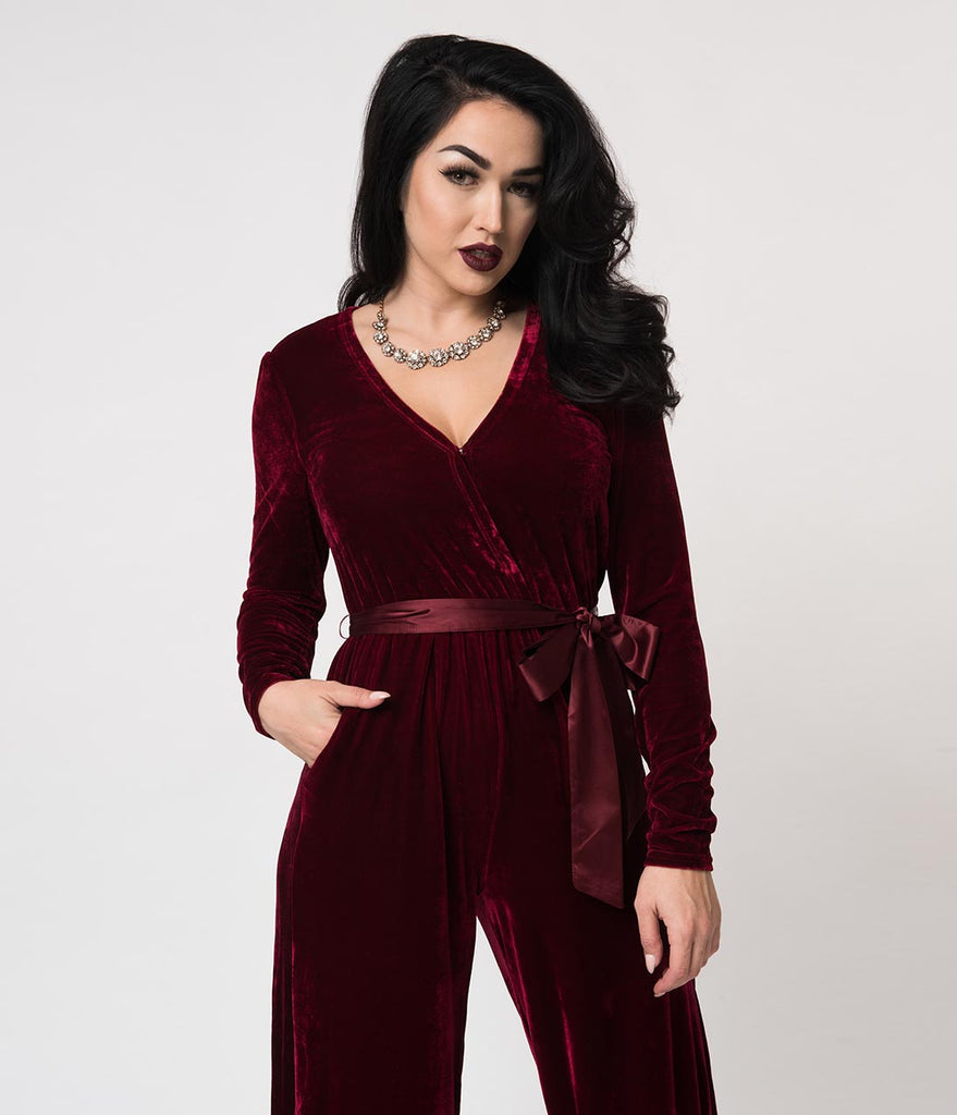 6e3b79378db3 1970s Burgundy Red Velvet Satin Tie Long Sleeve Jumpsuit – Unique ...