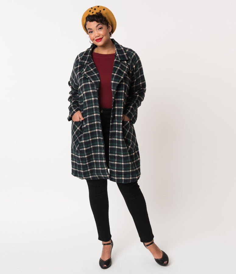 Plus Size Retro Style Hunter Green & Black Plaid Brushed Wool Oversized Coat