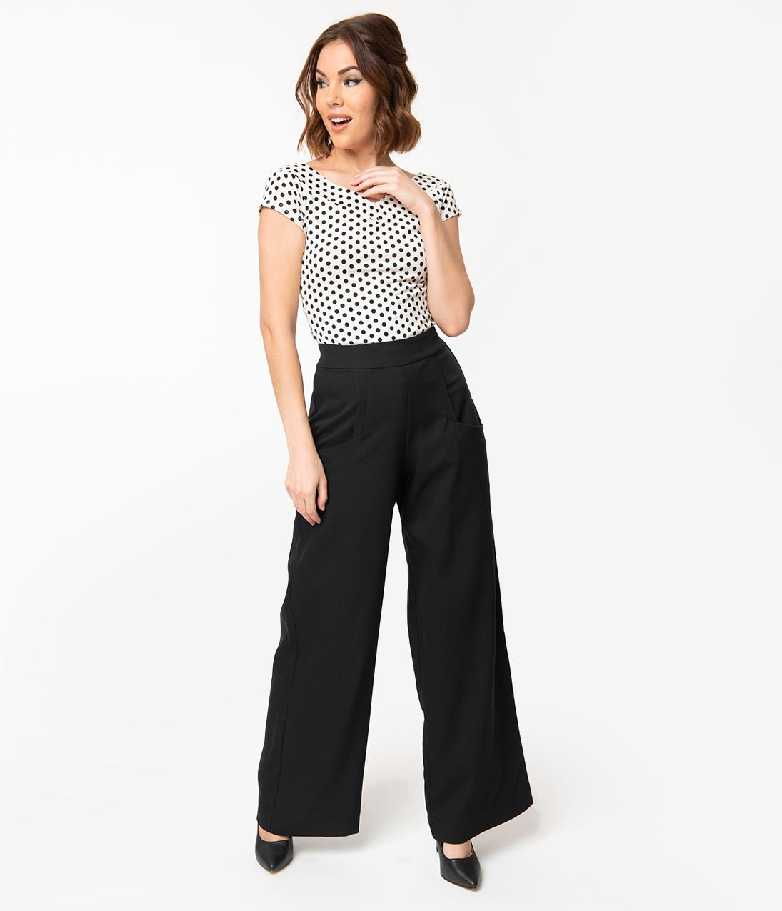 Vintage High Waisted Trousers, Sailor Pants, Jeans Unique Vintage 1940S Black High Waist Wide Leg Ginger Trousers $62.00 AT vintagedancer.com