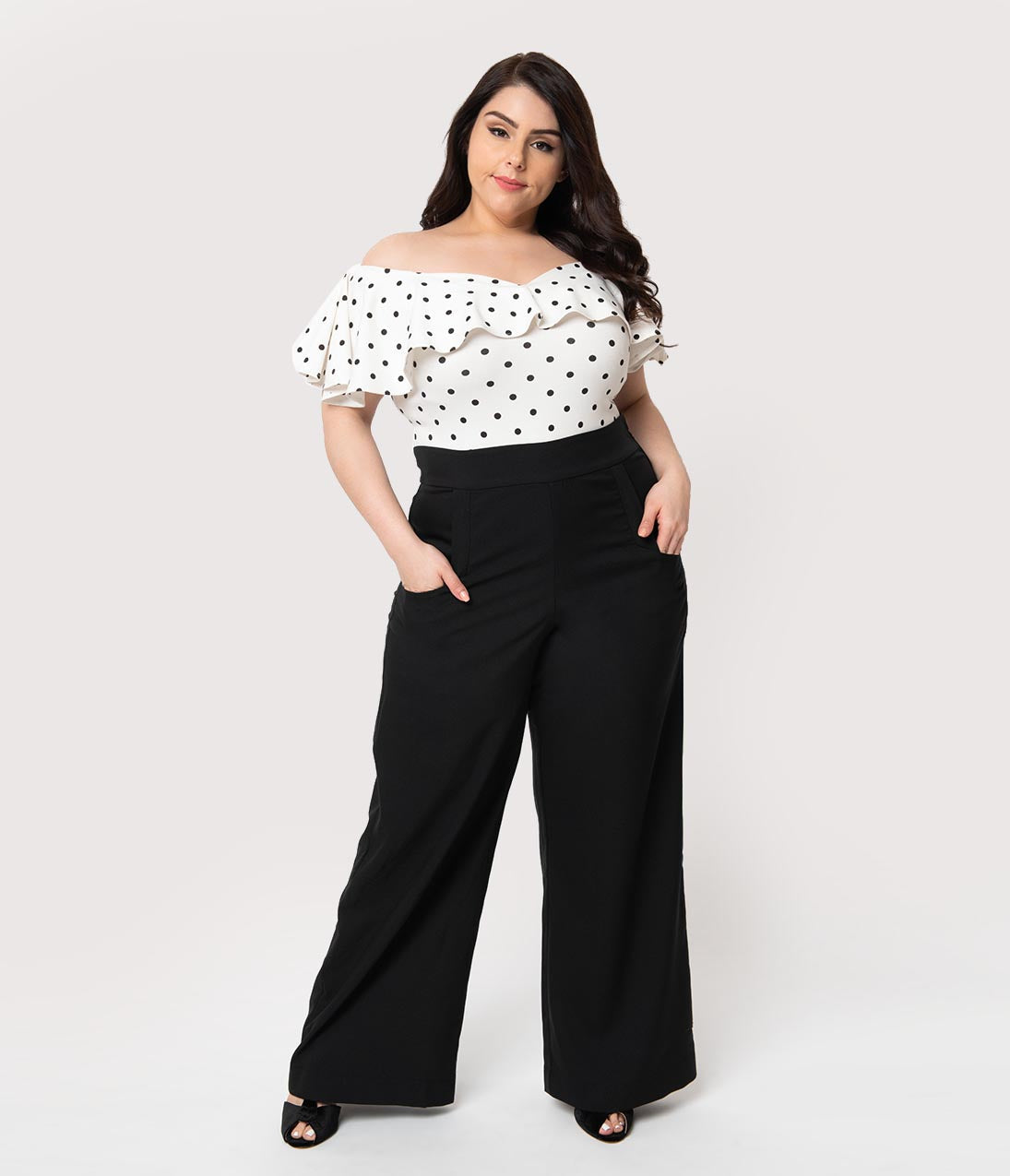 1940s Swing Pants & Sailor Trousers- Wide Leg, High Waist Unique Vintage Plus Size 1940S Black High Waist Wide Leg Ginger Trousers $62.00 AT vintagedancer.com