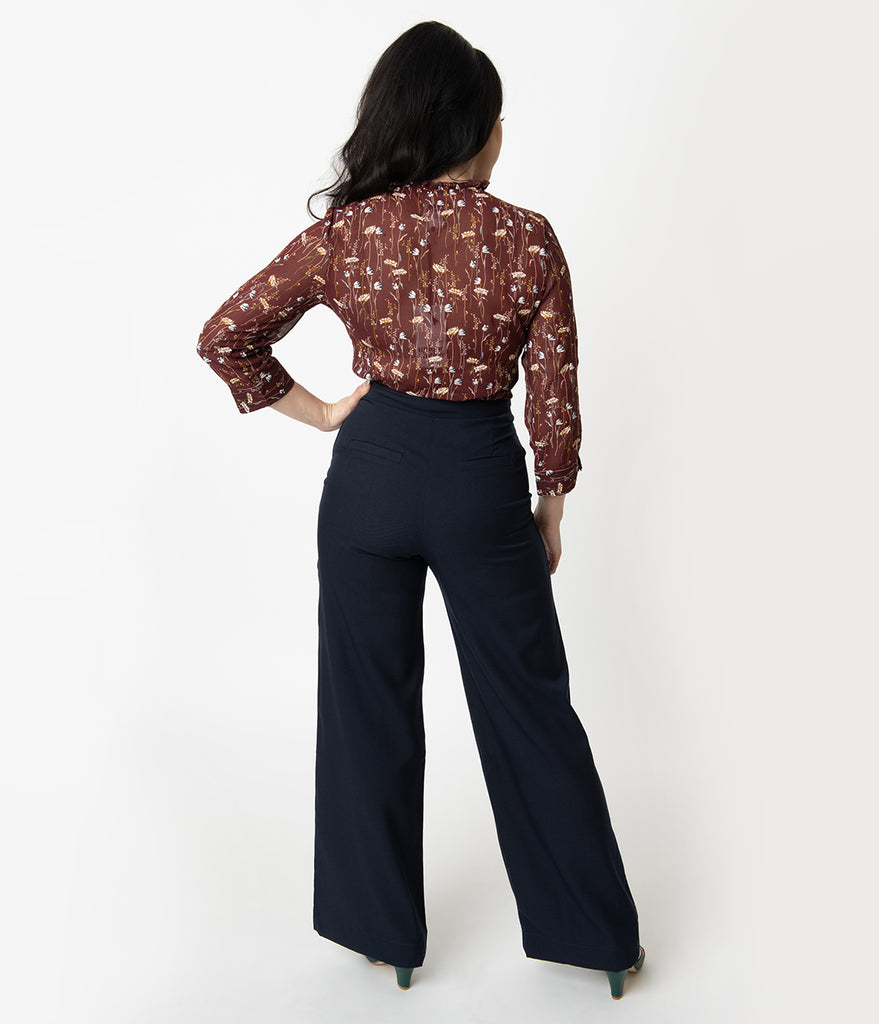 Unique Vintage 1940s Navy High Waist Wide Leg Ginger Trousers