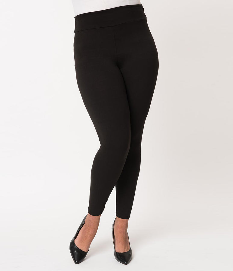 Plus Size 1950s Pin Up Style Black High Waist Cigarette Stretch Leggings