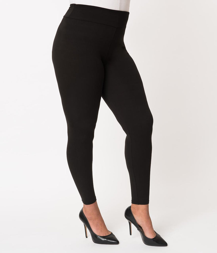 5a85beebde493e ... Plus Size 1950s Pin Up Style Black High Waist Cigarette Stretch Leggings