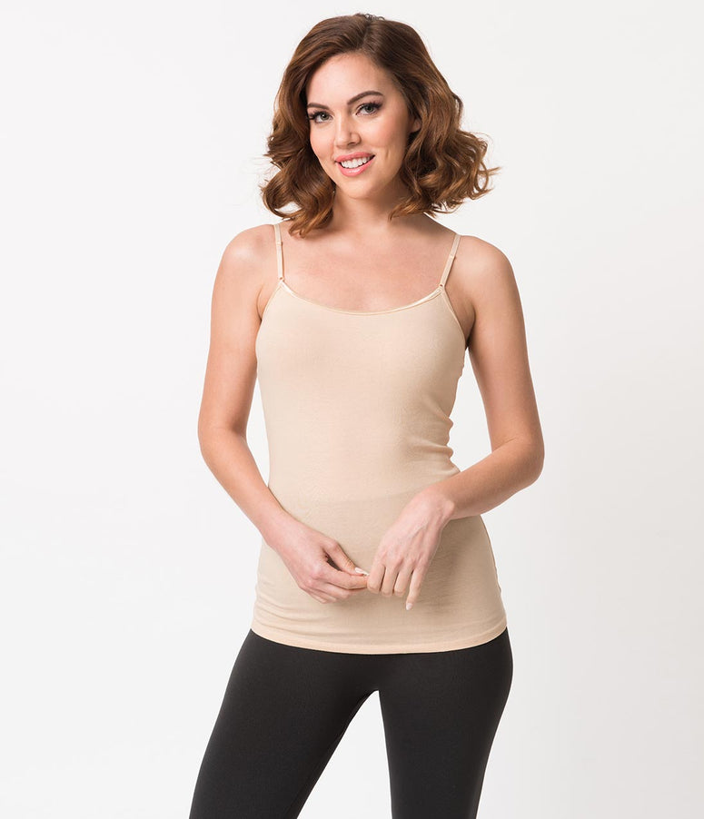 Khaki Stretch Cotton Knit Spaghetti Strap Camisole