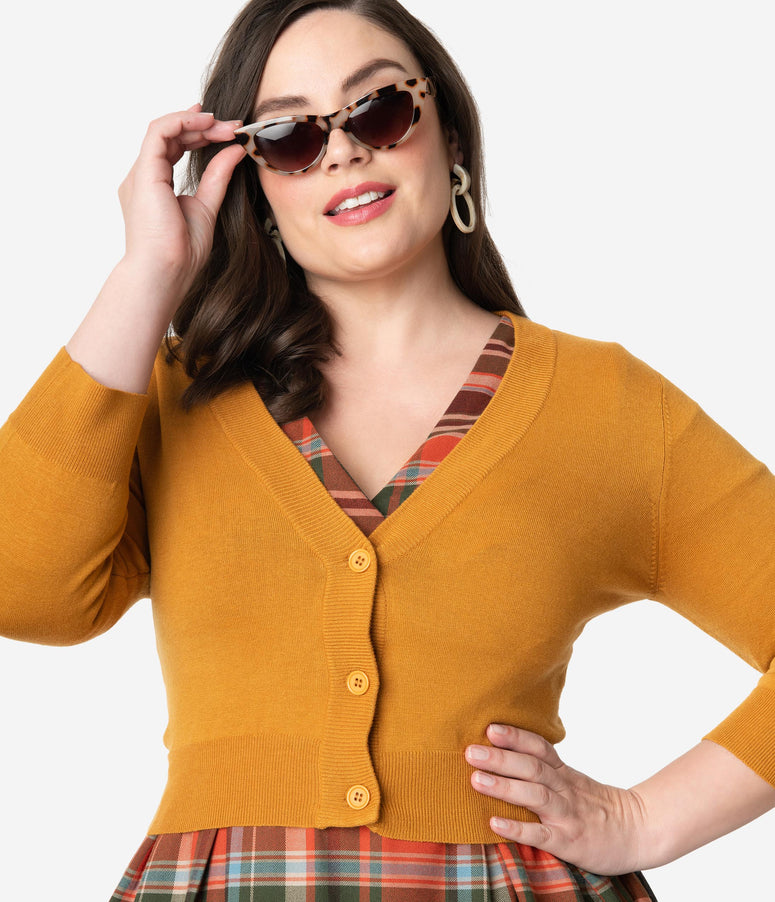 Plus Size Bronze Three-Quarter Sleeve Button Up Crop Cardigan