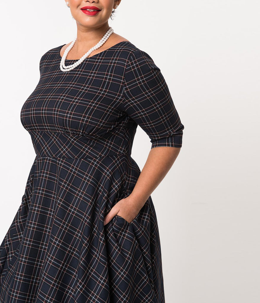 Hell Bunny Plus Size Navy Blue Tartan Peebles Swing Dress
