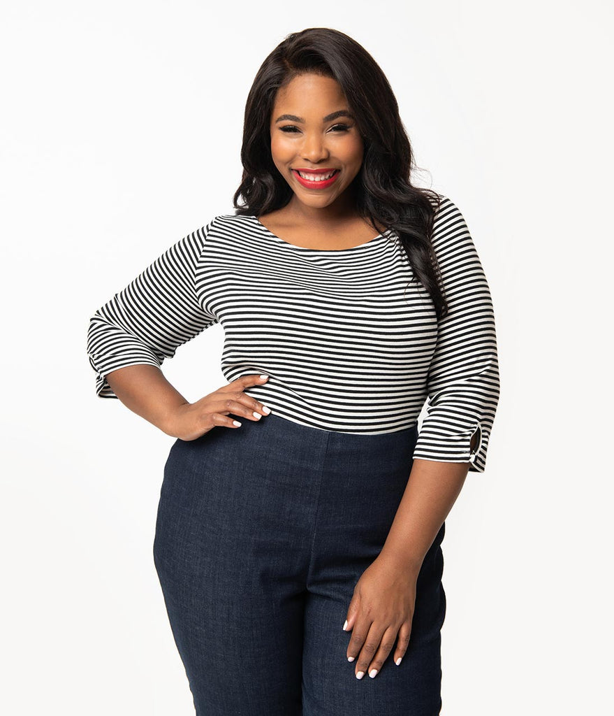 Unique Vintage Plus Size Black & White Stripe Knit Three-Quarter Sleeve Gracie Top